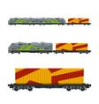 locomotive with orange cargo container vector image