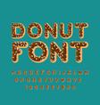 donut font pie alphabet baked in oil letters vector image