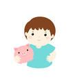 boy saving money hold piggy bank cartoon vector image