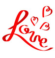 Red satin ribbon in shape of word Love Three vector image