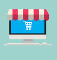 computer with awning and cart icon vector image