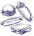 fast food set hand drawn llustration vector image