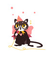 flat cat character singing in microphone vector image
