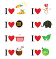 I love different things vector image