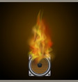 musical black speaker and fire flame vector image