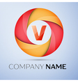 V letter colorful logo in the circle template for vector image