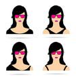 Woman head with sunglasses set sensual vector image