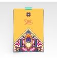 yellow decorative sheet of paper with oriental vector image