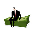 Businessman sitting on stack of dollars vector image