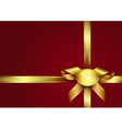 Golden ribbon bow and label vector image