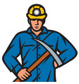 coal miner with pick ax vector image vector image