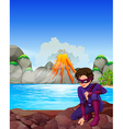 Superhero at the lake vector image vector image