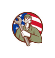 Mechanic Holding Wrench USA Flag Circle Retro vector image