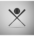 Crossed baseball bats and ball icon vector image