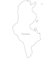 Black White Tunisia Outline Map vector image