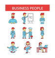 business people thin line icons vector image