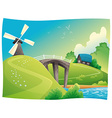 Countryside with windmill vector image