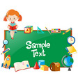 frame design with girl reading book and school vector image
