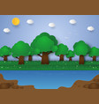 nature landscape forest and lake paper art style vector image