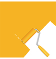 Orange background with paint roller vector image