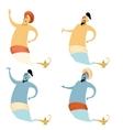 Set of cartoon genies vector image