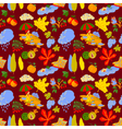 pattern background with fall season nature objects vector image vector image
