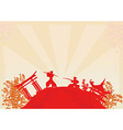 Fighting Samurai silhouette on abstract Asian vector image