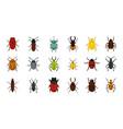 bugs icon set flat style vector image