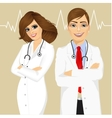 experienced male and female doctors vector image