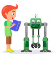little boy with book looks at robot vector image