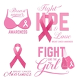 Set of Breast cancer awareness pink card vector image