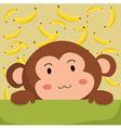 Close up Cute Monkey and Banana Cartoon vector image