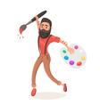 Hipster men with big paint brush and palette vector image