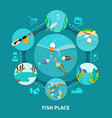 underwater piscary fishing composition vector image