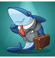 cartoon business shark vector image