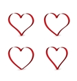 3D red ribbons in the shape of heart vector image