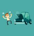 business man and broken car vector image