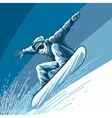 Snowboarding theme with jumping snowbarder vector image