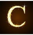 Alphabets C of gold glittering stars vector image