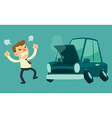 business man and broken car vector image