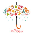 card autumn leaves as umbrella vector image