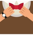 man putting bowtie on icon vector image