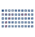 Set of blue square road signs isolated on white vector image