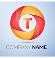 T letter colorful logo in the circle template for vector image
