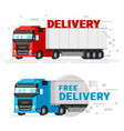 two delivery trucks flat design vector image