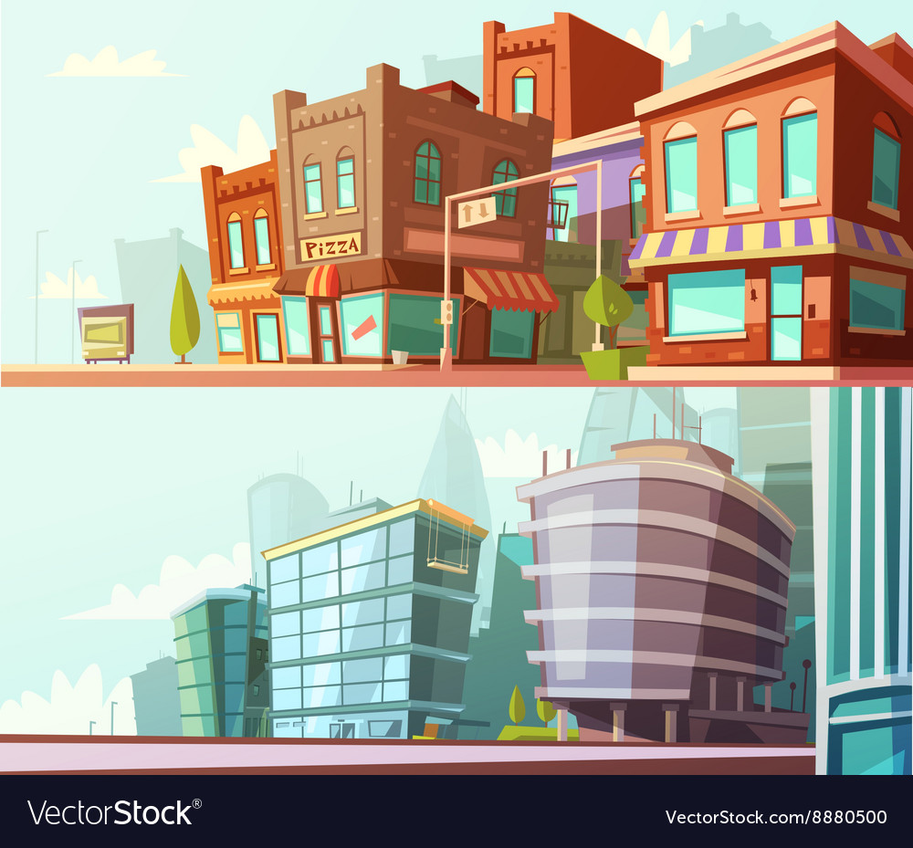 City skyline 2 horizontal banners set vector