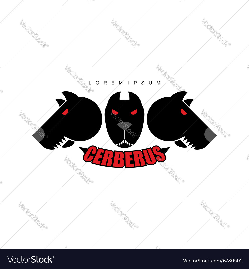 Cerberuswarrior dog logo of heads of dogs scary vector