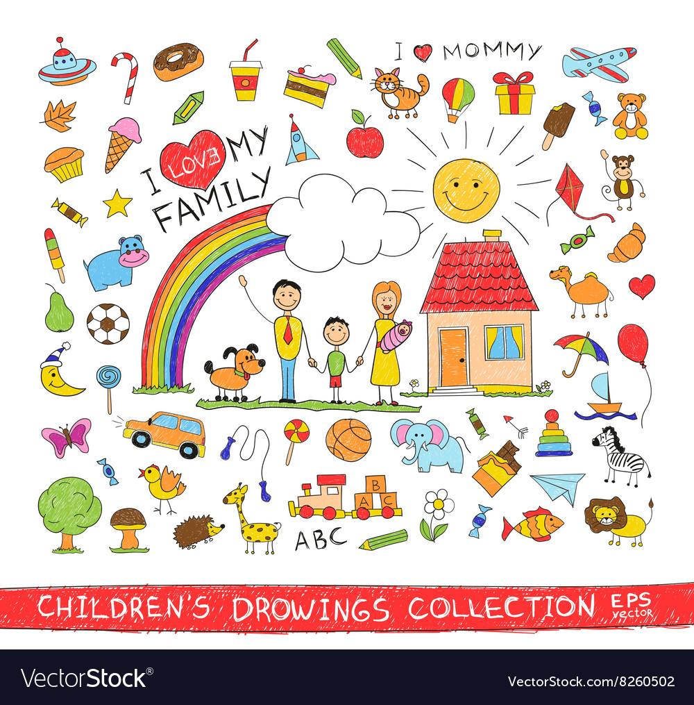Child hand drawing of happy family vector