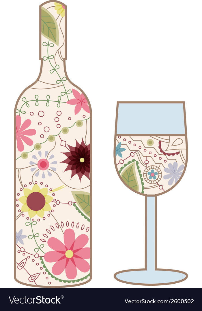 Wine bottle and glass vintage vector