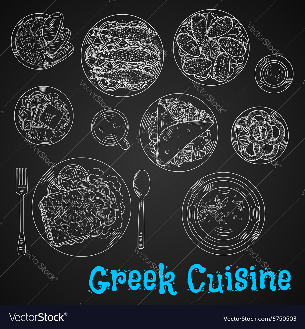 Blackboard menu of chalk sketched greek dishes vector
